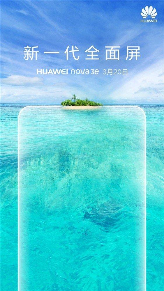 华为nova 3e下周发布!刘海屏超高颜值
