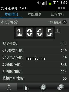 华为 C8500 MicroPhoenix StarryMod 2.3  RC3 跑分1100截图